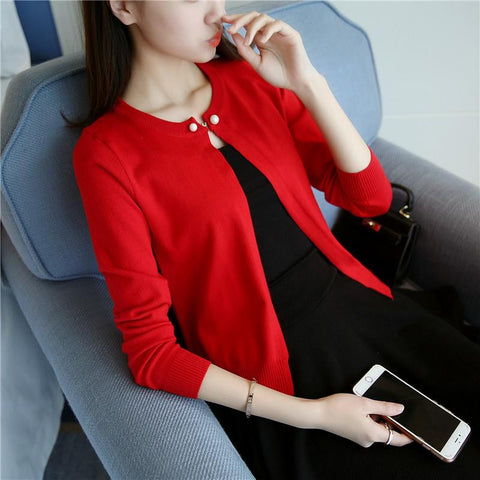 Long Sleeve Cardigan  Single Button