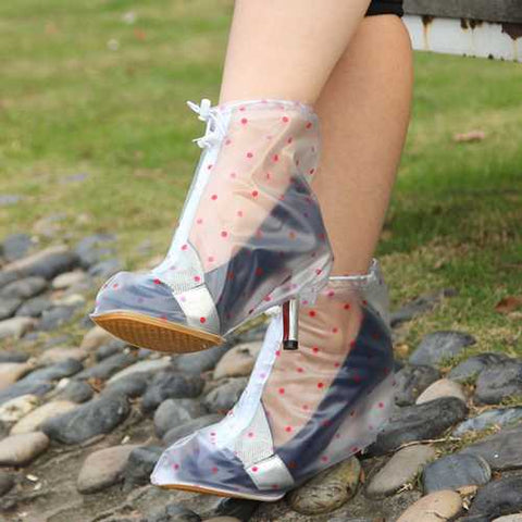 Polka Dots Thicken High-heeled Waterproof Rain Shoes Covers Slip Resistant Rain Shoes