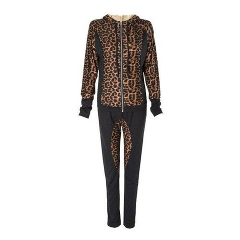 Stylish Hooded Long Sleeve Leopard Print Hoodie + Drawstring Pants Women's Twinset - Black S