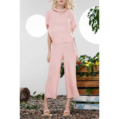 Loose Blouse and Solid Color Wide Leg Pants Suit - Pink Xl