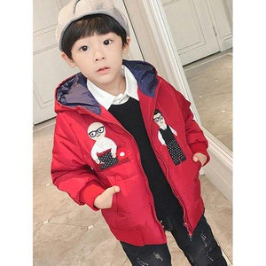 Boys Cartoon Print Hooded Padded Coat - Red 130