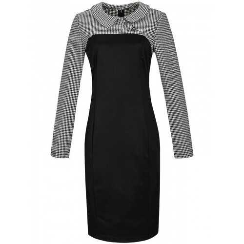 Houndstooth Long Sleeve Pencil Dress - Black L