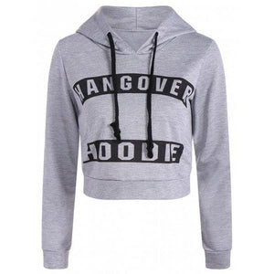 Active Hangover Pattern Cropped Hoodie - Light Gray Xl