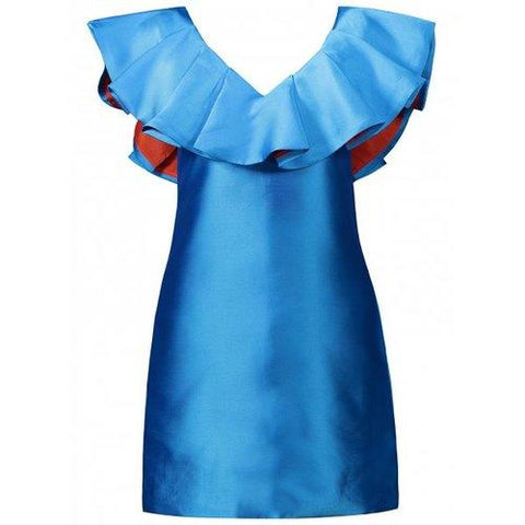 V  Neck Mini Ruffle Dress - Azure M