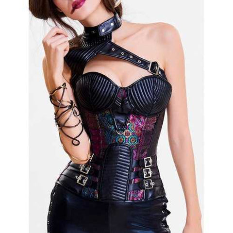 One Shoulder Cut Out Steel Boned Corset Top - Purple M