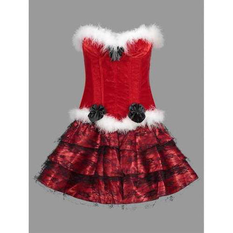 Ruffles Christmas Velvet Corset Dress - Red M