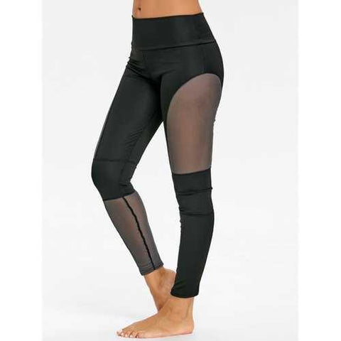 See Through Mesh Panel Gym Leggings - Black S