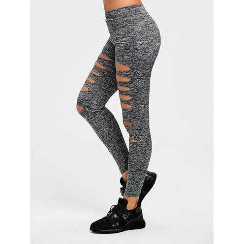 Marled Ladder Shredding Cut Sports Leggings - Heather Gray S