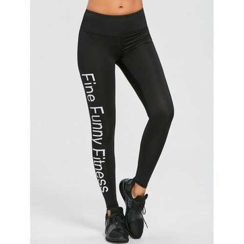 Elastic Workout Leggings - Black S