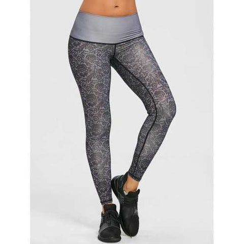 Active Brocade Print Performance Leggings - Grey S
