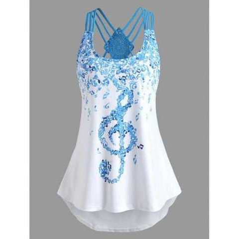 Musical Note Asymmetric Tank Top - White S