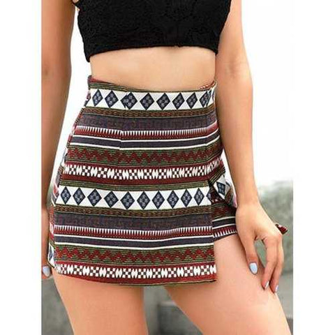 High Waist Patterned Shorts - L