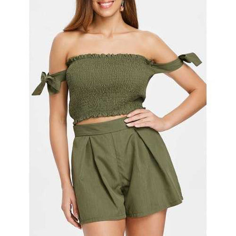 Shirred Top and Elastic Waist Shorts - Army Green S