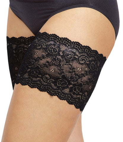 "Bandelettes ONYX BLACK - Elastic Anti-Chafing Thigh Bands Black Onyx 5.5"" in length - eClick Shopping Express"
