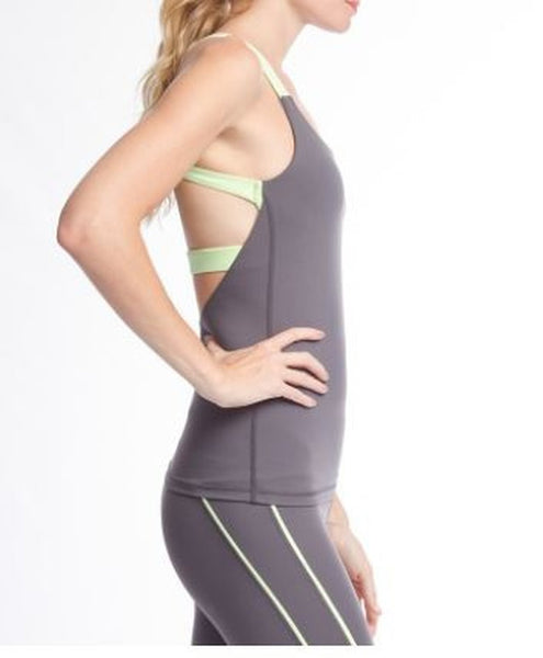 Color Block Open Back Running/Yoga Top - eClick Shopping Express