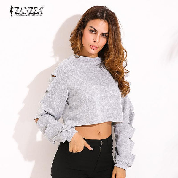 Casual Loose O Neck Long Sleeve Ripped Tops