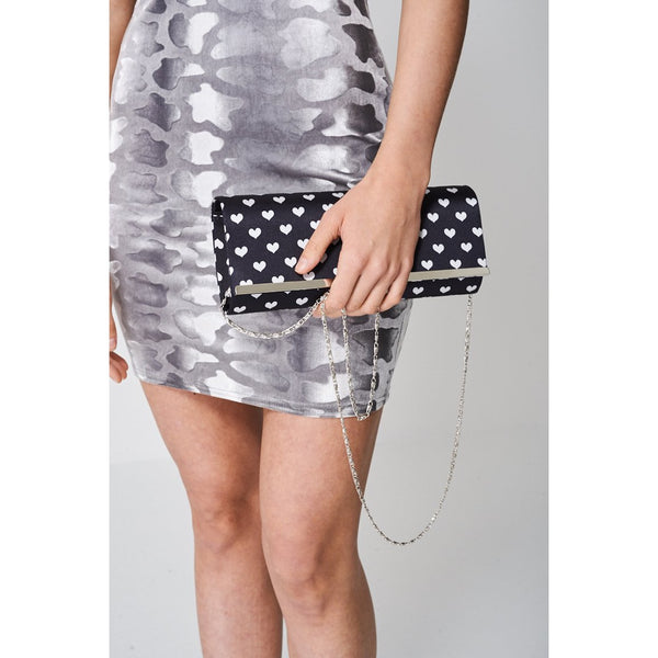 Black Clutch Bag Printed With With Hearts - E Click Shopping Express
