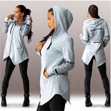 Hooded Zippered Irregular Sweatshirt