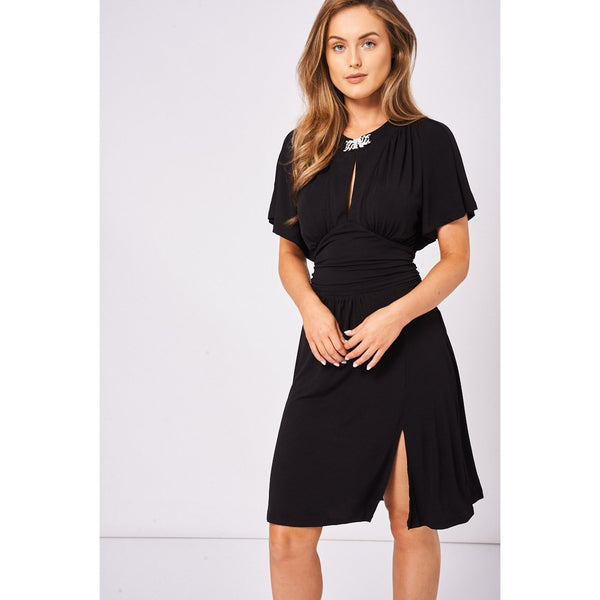 Black Dress with Diamante Brooch and Batwing Sleeves - eClick Shopping Express