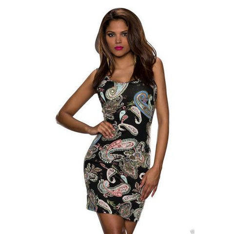 Get You Noticed Bodycon Print Dress Black