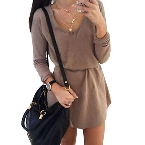 Wholesale  Fashion O-Neck Long Sleeve Round Edge Mini Dress Brown