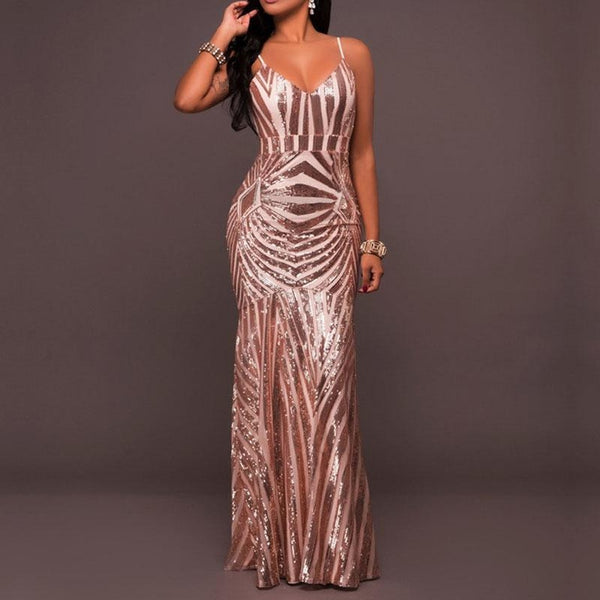 High Quality Fishtail Sexy Sequin Spaghetti Strap Backless Dress - E Click Shopping Express