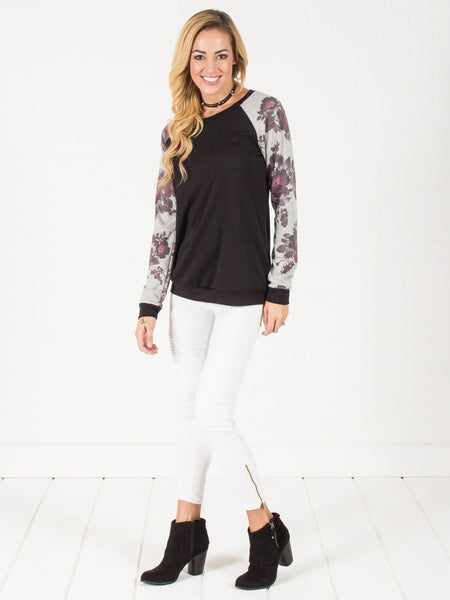 Floral Sleeve Pullover Sweater - Black