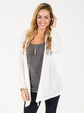 Open Front Cardigan - Ivory