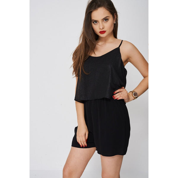 Black Double Layer Playsuit Ex-branded