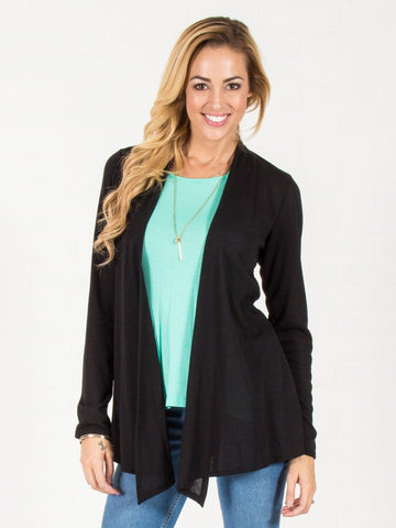Open Front Cardigan - Black