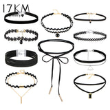 17KM 10 PCS/Set New Gothic Tattoo Leather Choker Necklaces Set for Women - eClick Shopping Express
