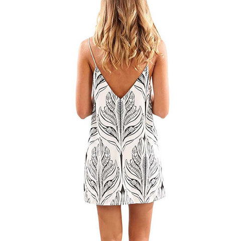 Off Shoulder Summer Dress Women Sleeveless Printed Short Mini Dress High waist Beach - eClick Shopping Express