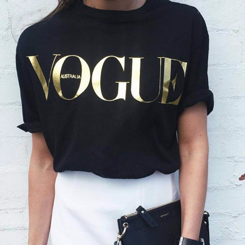 100% Cotton 8 Colors S-4XL Fashion Brand T Shirt Women VOGUE Printed T-shirt Women Tops - E Click Online Shopping  Express