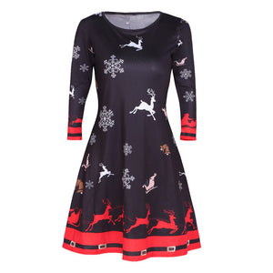 Womens Xmas Christmas Santa Skater Ladies Snowman Swing Dress