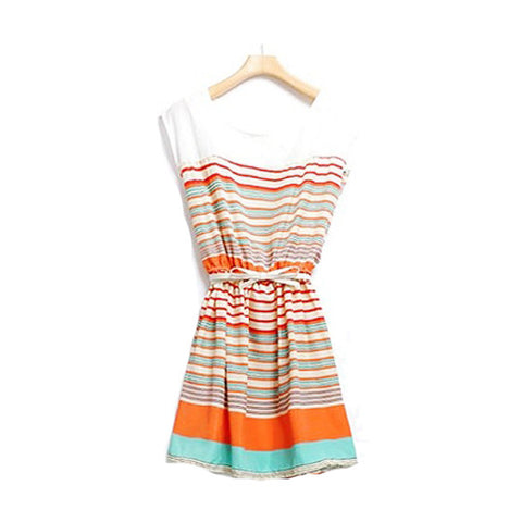 Fashion Women's Colorful Stripes Chiffon Party Mini Dress Clubwear Elastic Waist - eClick Shopping Express