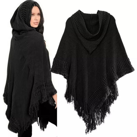 New Women Ladies Tassel Cape Coat Fringe Poncho Oblique Stripe Coat Bohemian Shawl Scarf - eClick Shopping Express