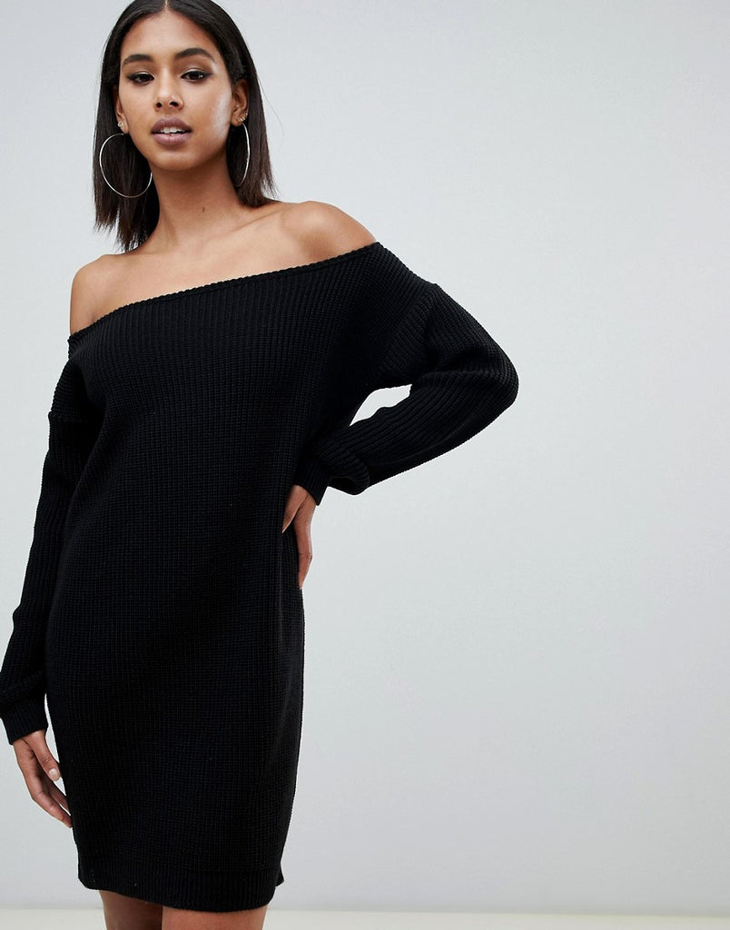 Missguided off the shoulder jumper dress
