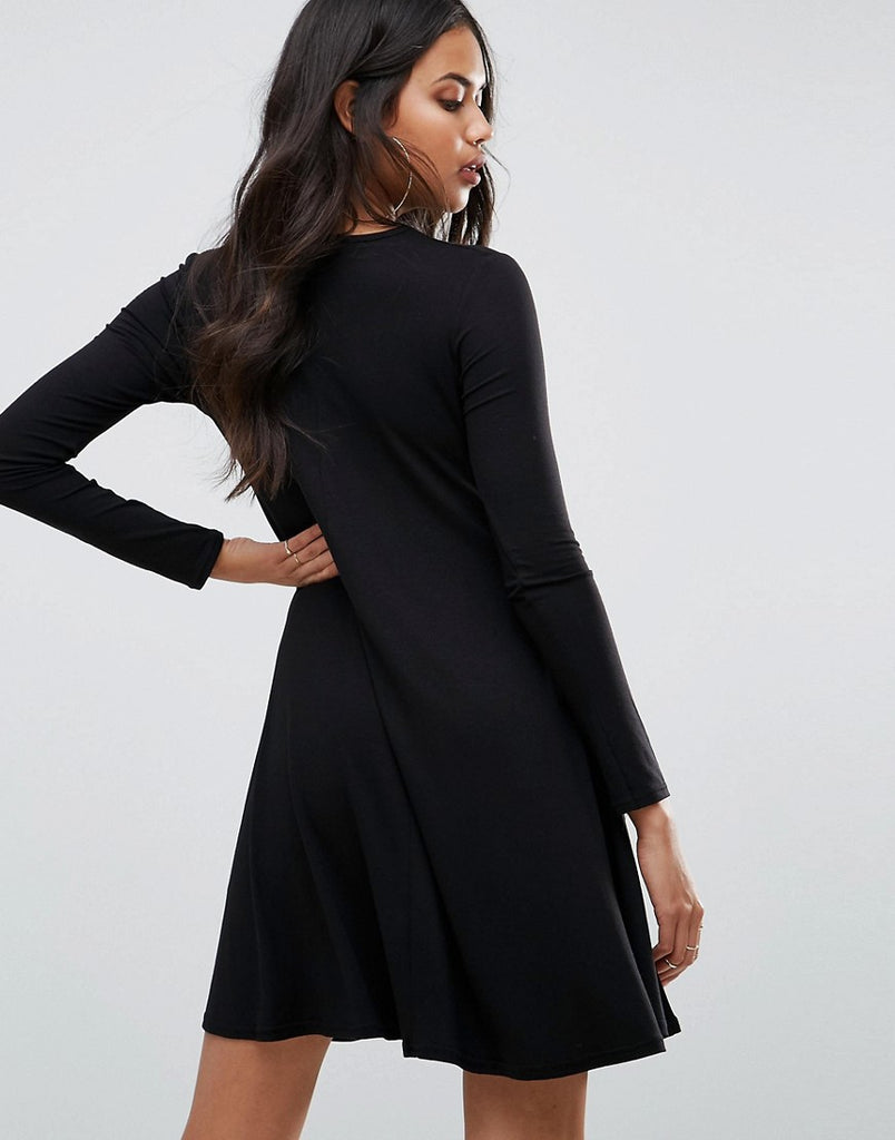 Neck Long Sleeve Swing Dress