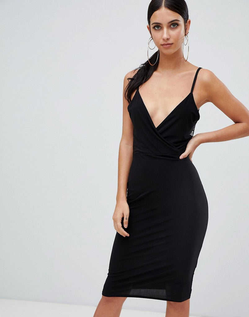 Lace open back midi dress in black