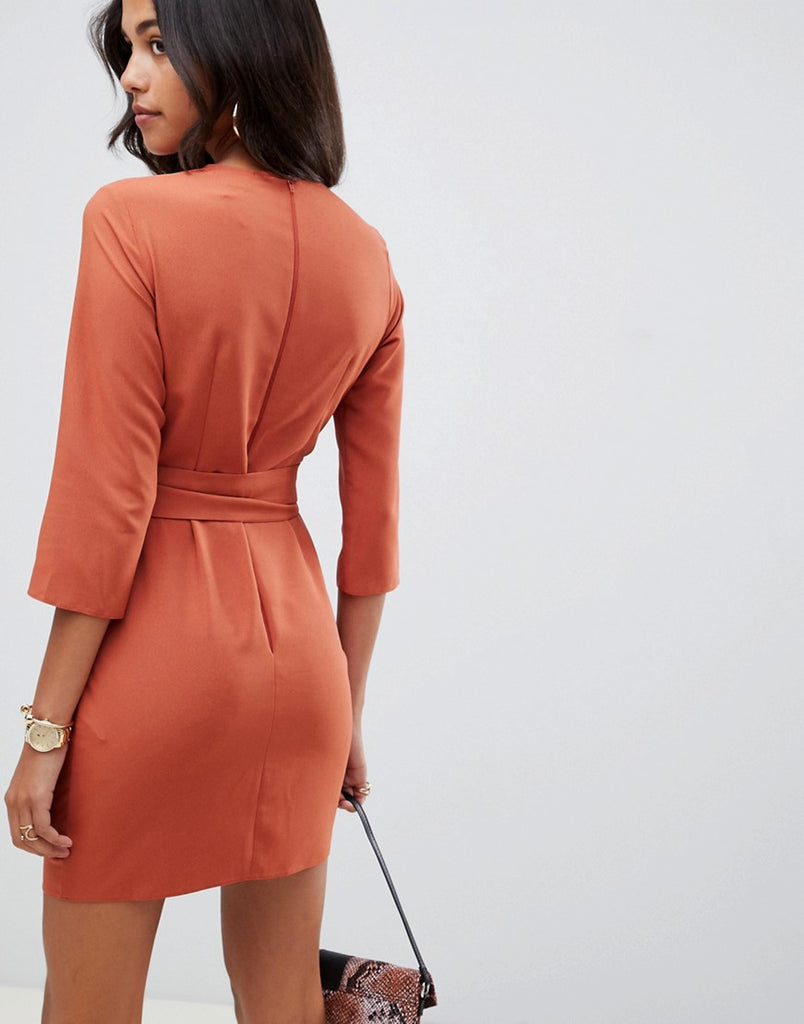 Tie wrap around mini work dress
