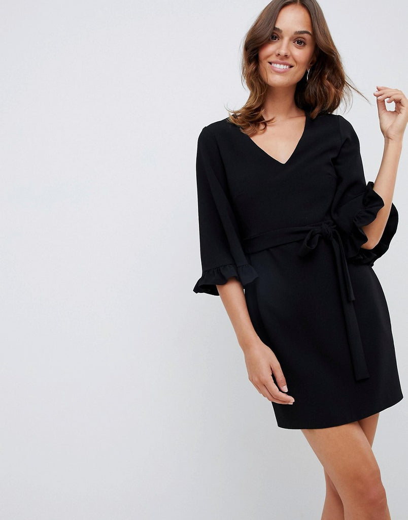 Kimono frill sleeve mini dress