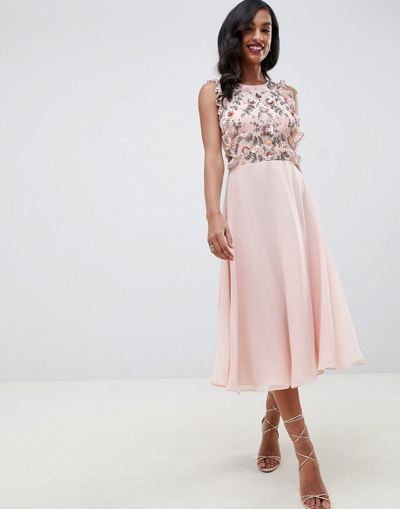 Midi dress with pinny bodice