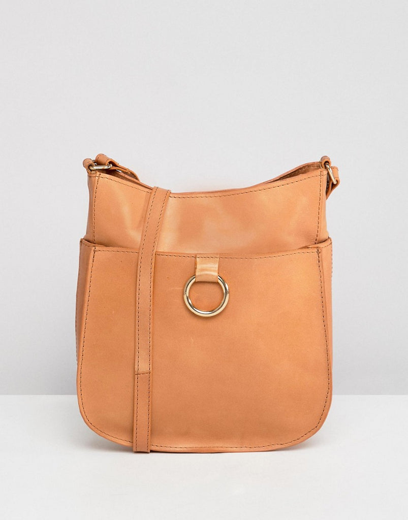 Leather Vintage Cross Body Bag With Ring Detail