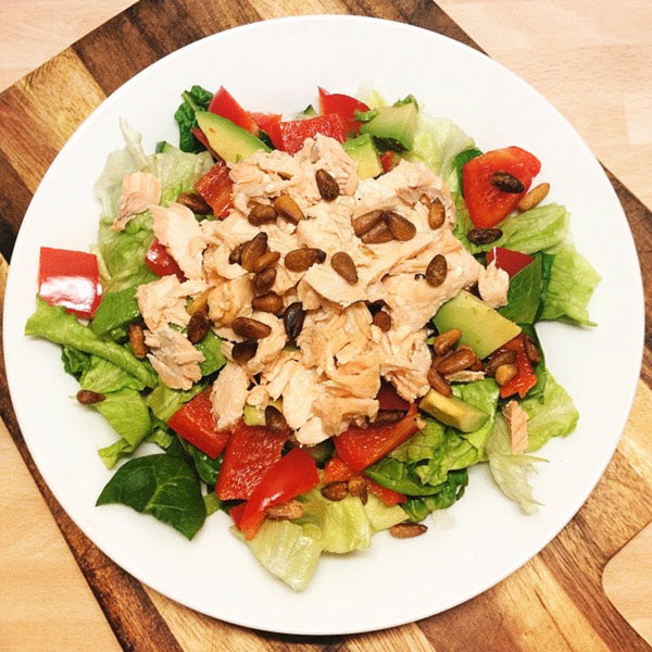 Salmon Pine Nuts Salad