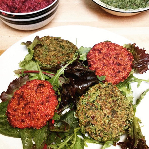 Spinach and beetroot burgers