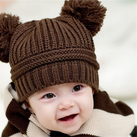 Baby Girl / Boy Dual Balls Warm Winter Knitted Cap Beanie Hat Fit For 6 to 18M