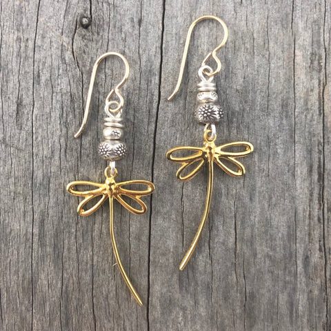 Dragonfly Flight Earrings Gold