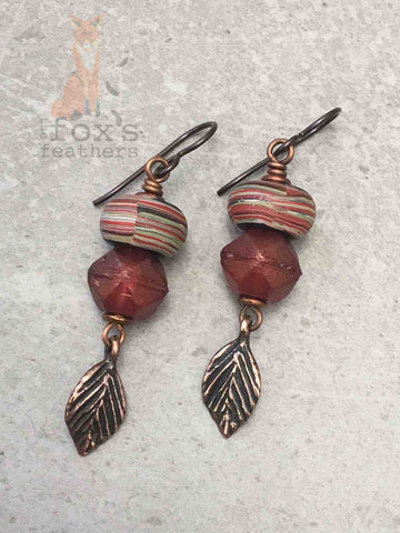 Shades of Autumn Earrings Red
