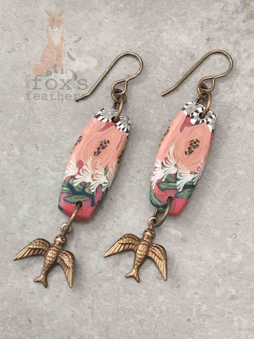 Folk Art Swallow Earrings Pink