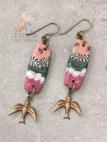 Folk Art Swallow Earrings Raspberry